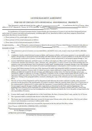License Bailment Agreement