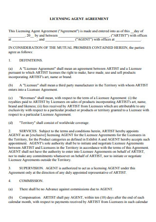 Licensing Agent Agreement