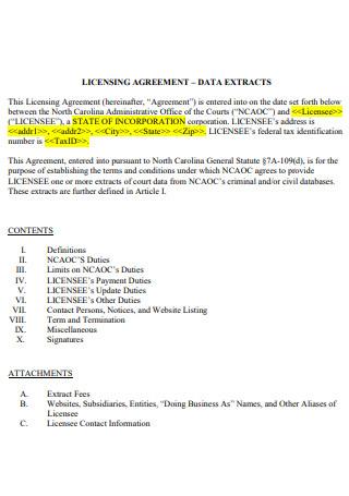 Licensing Agreement Format