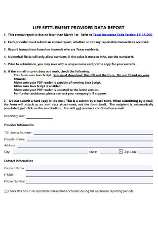 Life Settlement Provider Data Report