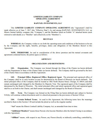Limited Liability Company Operating Agreement of Investments