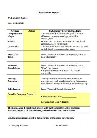 Liquidation Report Example