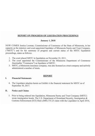Liquidation Report on Progress