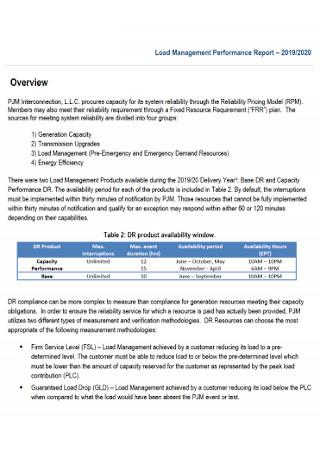 Load Management Performance Report