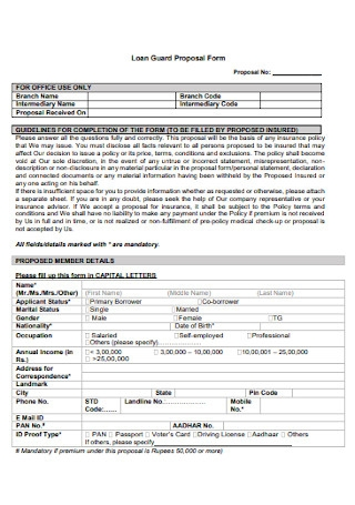 Loan Guard Proposal Form