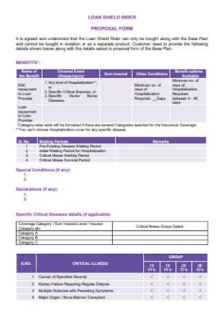 Loan Shield Rider Proposal