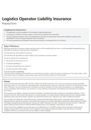Logistics Liability Insurance Proposal