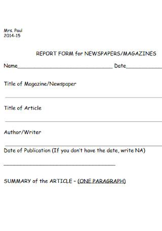 Magazine Report Form