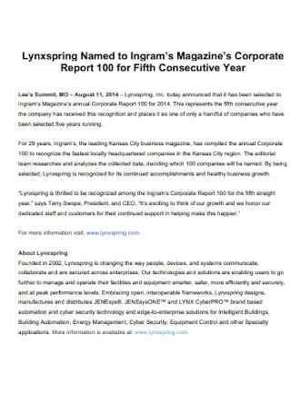Magazines Corporate Report