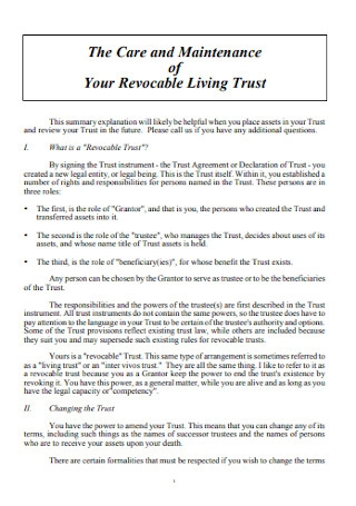 Maintenance of Revocable Living Trust