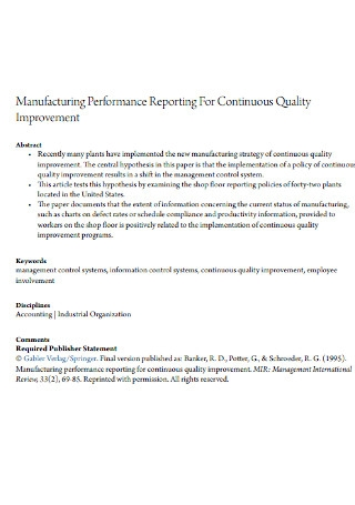Manufacturing Performance Report