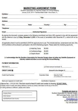 Marketing Agreement Form