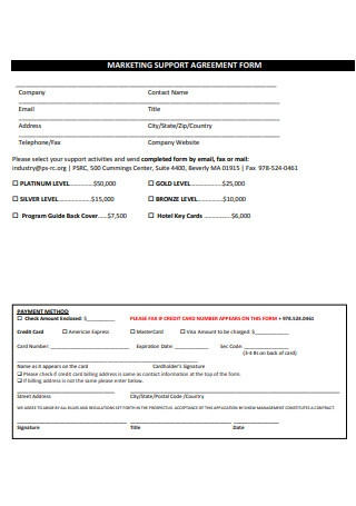 Marketing Support Agreement Form