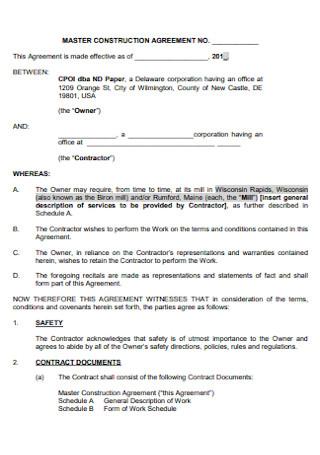 Master Construction Agreement