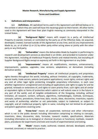 Master Research Manufacturing and Supply Agreement