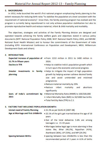 Material For Annual Planning Report