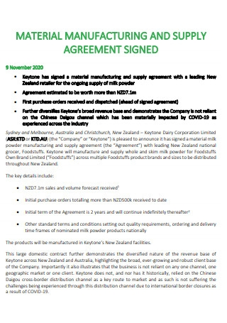 Material Manufacturing and Supply Agreement