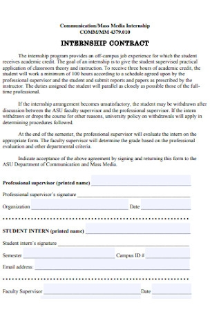 Media Internship Contract