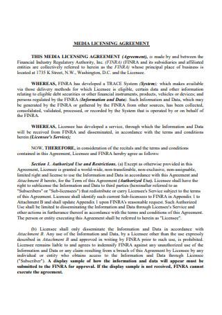 Media Licensing Agreement