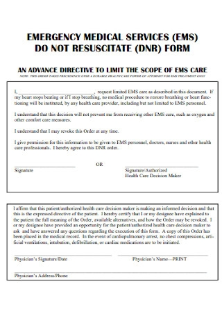 Medical Do Not Resuscitate Form