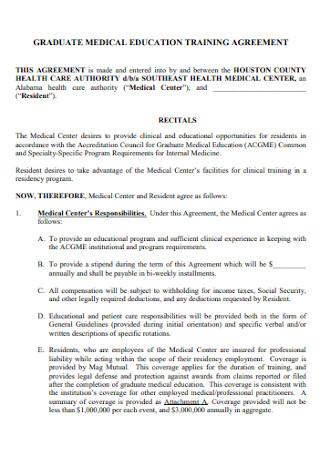 Medical Education Training Agreement