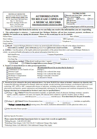 Medical Record Copies Release Form