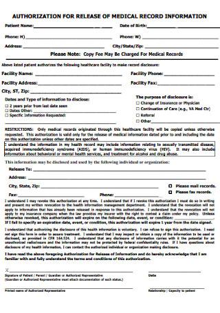 Medical Record Relase Information Form