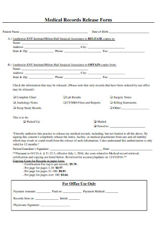 Medical Records Release Form Format