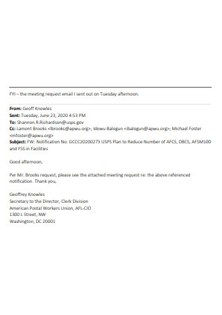 Meeting Request Email Example