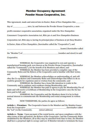 Member Occupancy Agreement