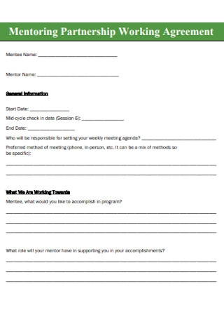 Mentoring Partnership Working Agreement
