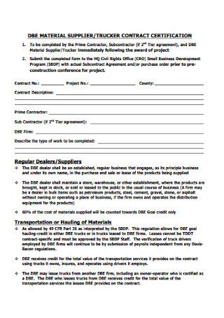 Meterial Supplier Contract