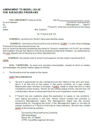 Model Lease Amendment