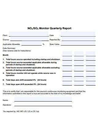 Monitor Quarterly Report