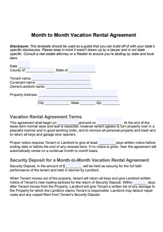 Month to Month Vacation Rental Agreement