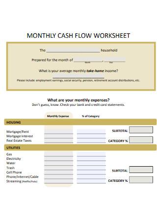 Monthly Cash Flow Worksheet Template