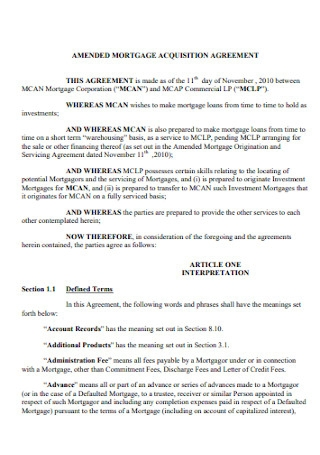 Mortgage Acquisition Agreement