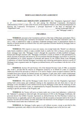 Mortgage Organization Agreement