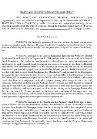 Mortgage Organization Master Agreement