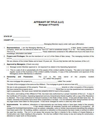 Mortgage Property Affidavit of Title