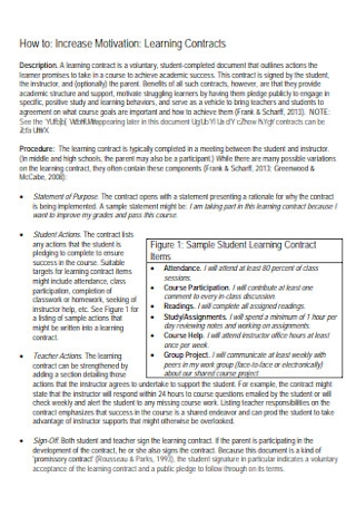 Motivation Learning Contract