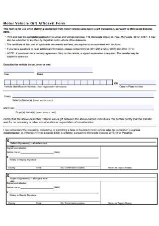 Motor Vehicle Gift Affidavit Form