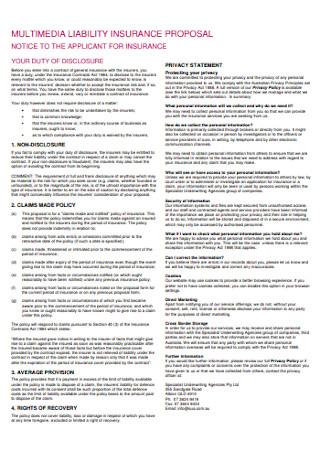 Multimedia Liability Insurance Proposal Template