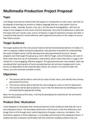 Multimedia Production Project Proposal