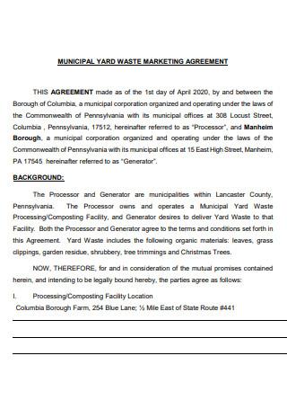 Municipal Marketing Agreement