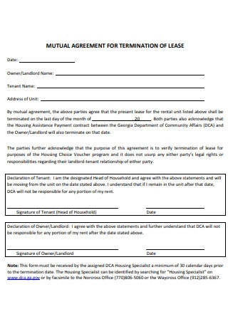 Mutual Agreement For Termination of Lease