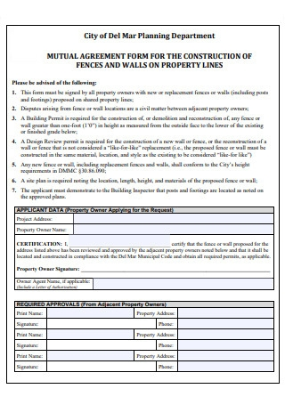 Mutual Agreement Form