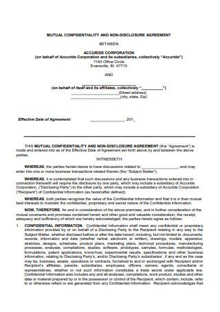 Mutual Confidentially Non Disclosure Agreement