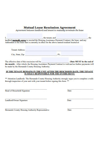 Mutual Lease Rescission Agreement