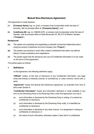 Mutual Non Disclosure Agreement Format